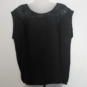GUESS Lace Cap Sleeve Blouse with Keyhole Closure